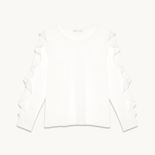 Blouse with flounced sleeves - Tops - MAJE