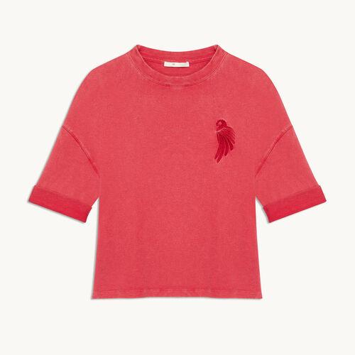 Embroidered cotton T-shirt - T-shirts - MAJE