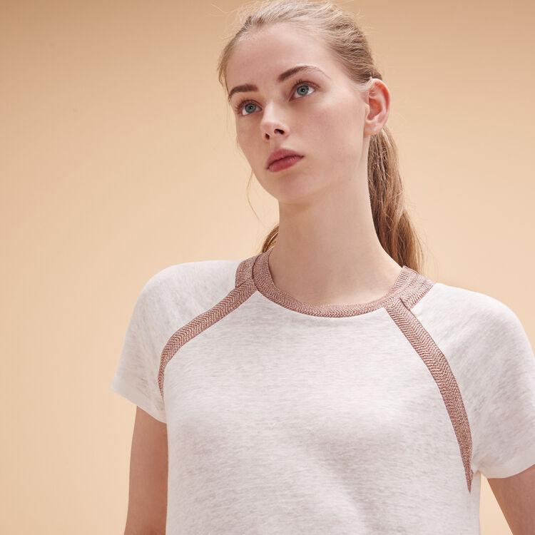 Linen T-shirt with lurex detailing - Tops & T-Shirts - MAJE