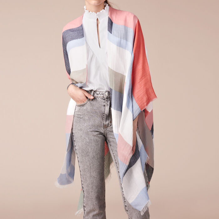 Lightweight poncho with graphic print - Denim capsule - MAJE