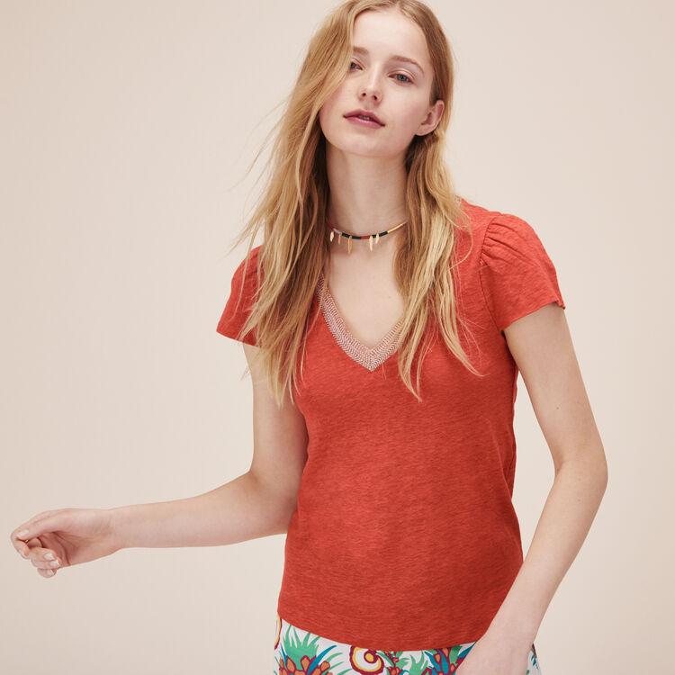 Tee-shirt en lin avec manches froncées - Tops & Chemises - MAJE