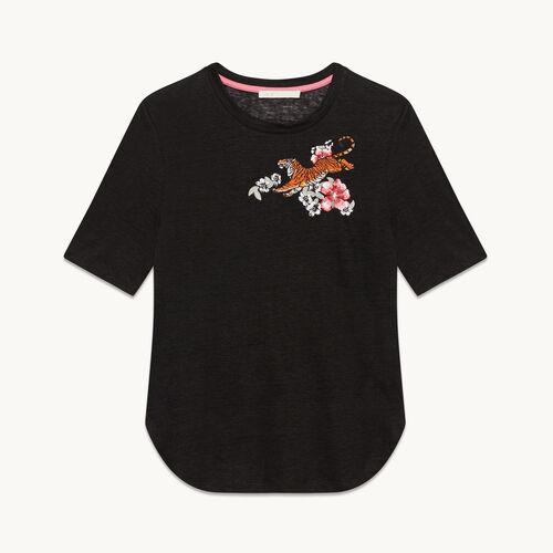 Tee-shirt en lin avec broderie - Hauts - MAJE