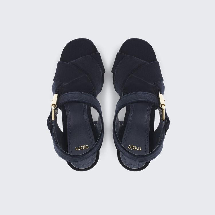 Studded suede high-heeled sandals - Shoes - MAJE