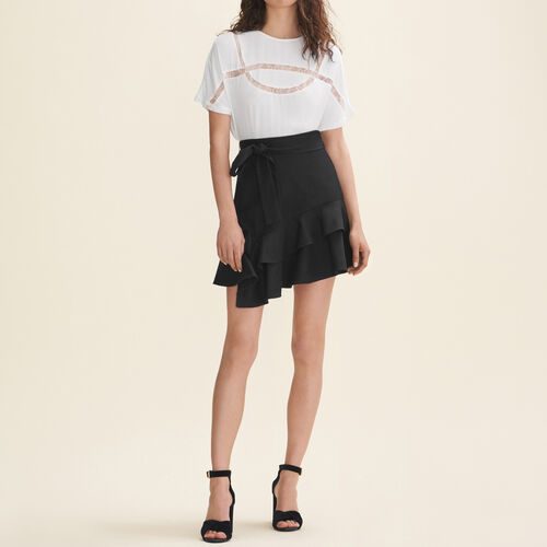Floaty T-shirt with lace - Tops - MAJE