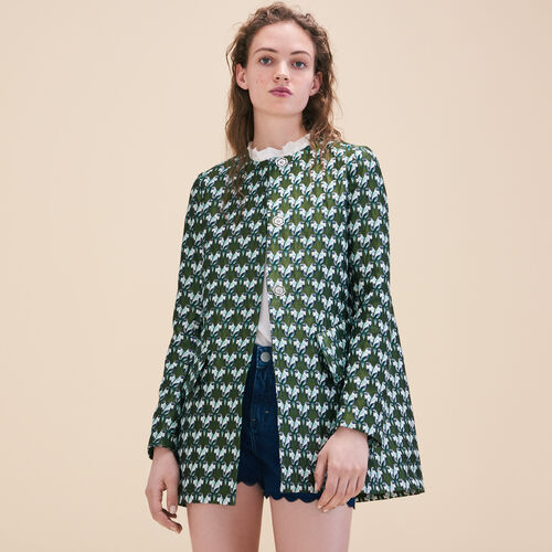 Straight-cut jacquard coat - Coats & Jackets - MAJE