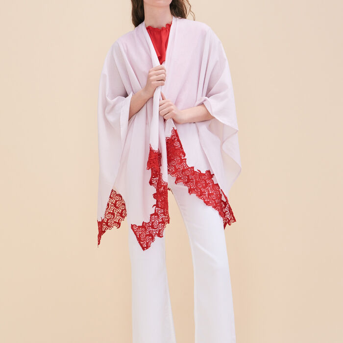 Poncho with lace -  - MAJE