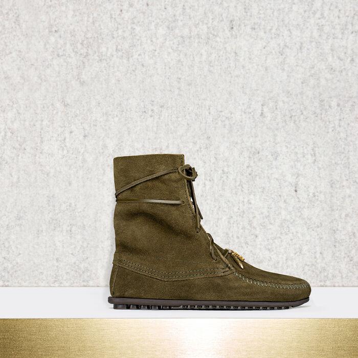 Low boots avec lacets en daim -  - MAJE