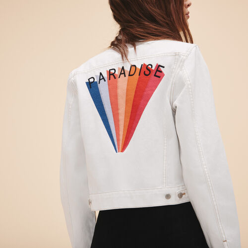 Embroidered denim jacket - Coats & Jackets - MAJE