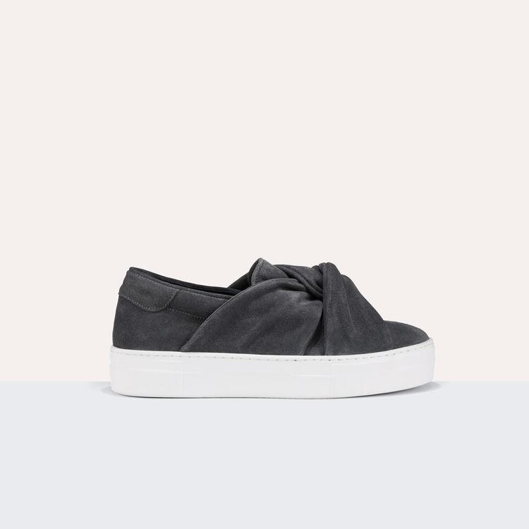 Baskets en suède avec noeud - Chaussures - MAJE