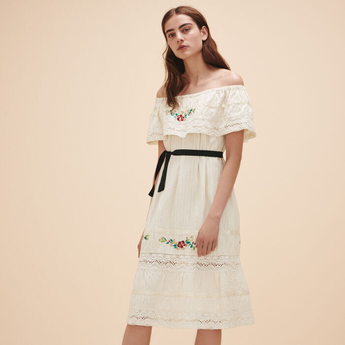 Dress with lace and embroidery -  - MAJE