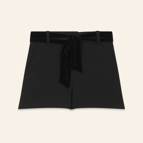 High-waisted shorts with suede belt - Skirts & Shorts - MAJE