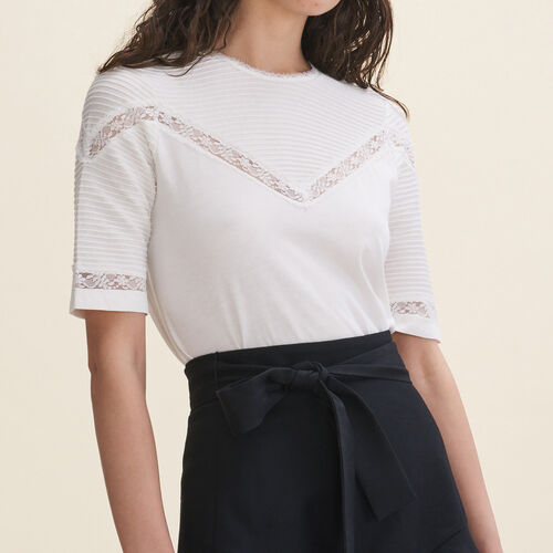 T-shirt with lace details - Tops - MAJE