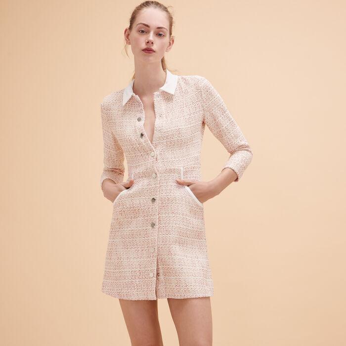 Kleid aus Jacquard mit Knöpfen -  - MAJE