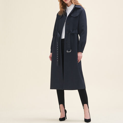 Long wool coat - Coats - MAJE