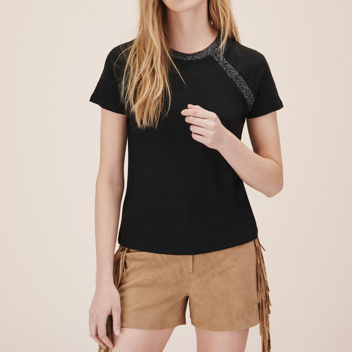 Linen T-shirt with lurex detailing -  - MAJE