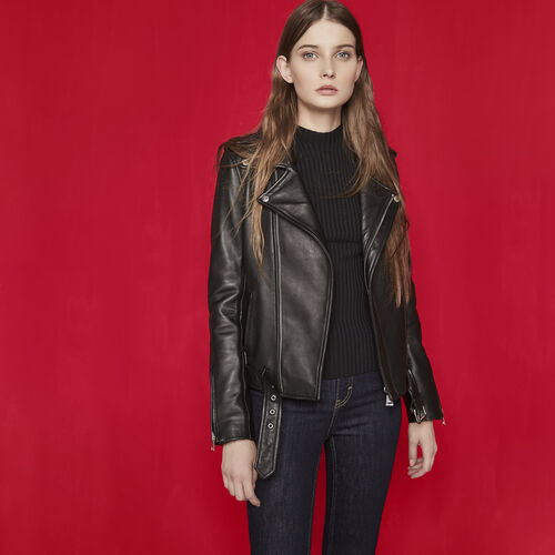 Leather jacket with belt - Coats & Jackets - MAJE