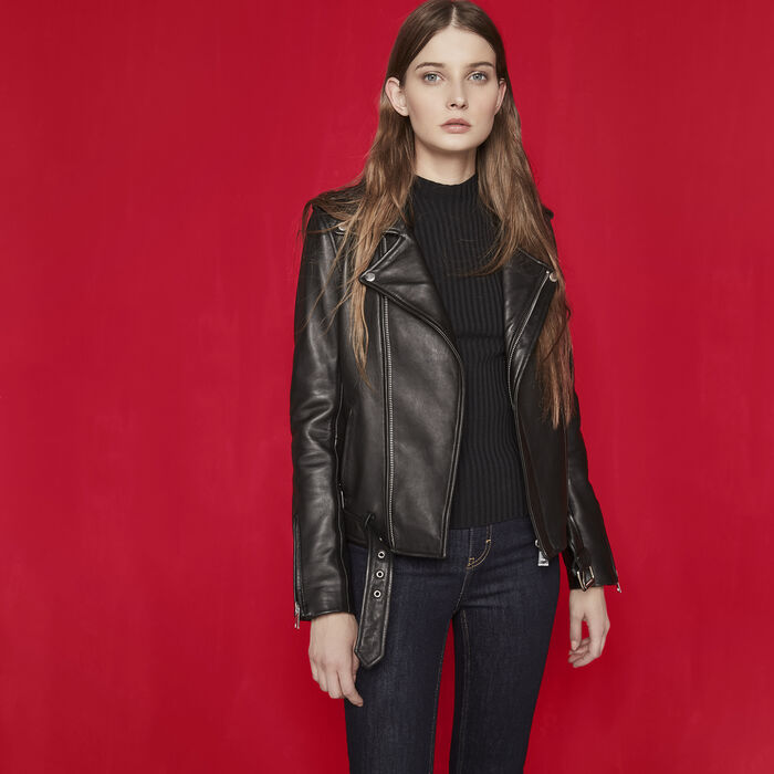 Leather jacket with belt -  - MAJE