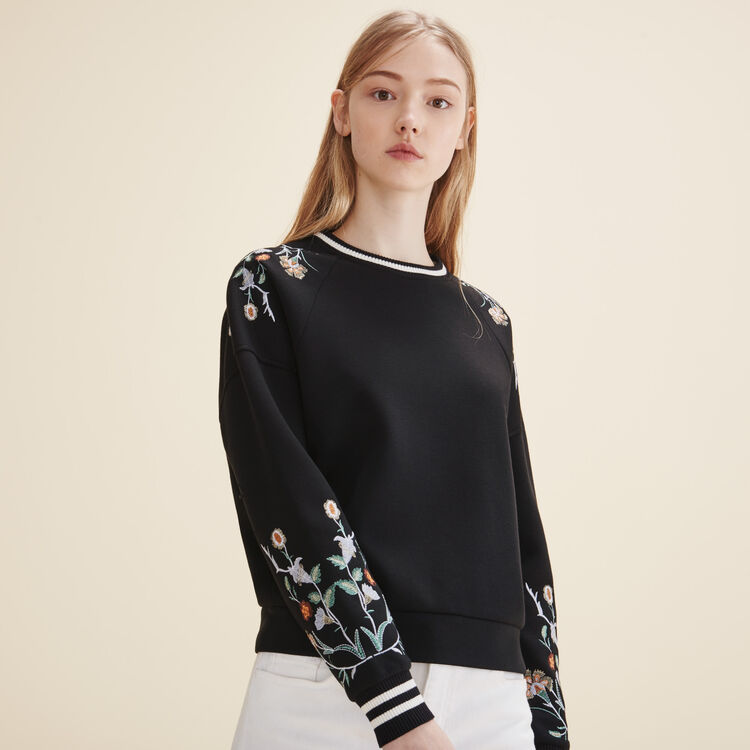 Sweat-shirt avec broderies - Maille - MAJE