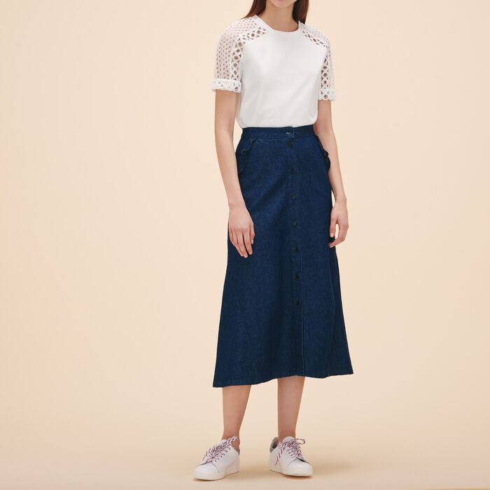 Embroidered T-shirt with eyelets -  - MAJE