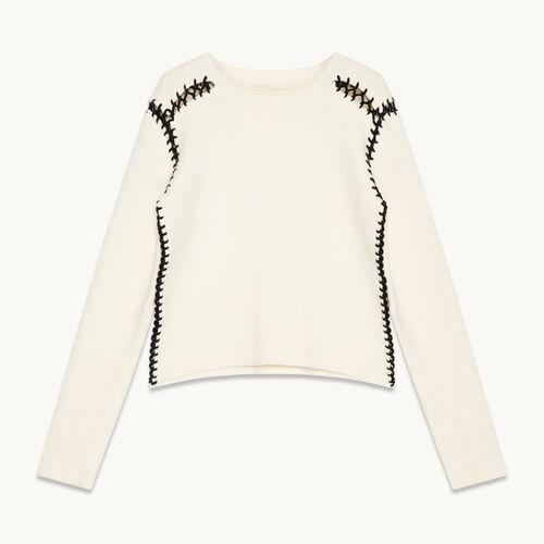 Wool blend jumper with openwork details - Knitwear - MAJE