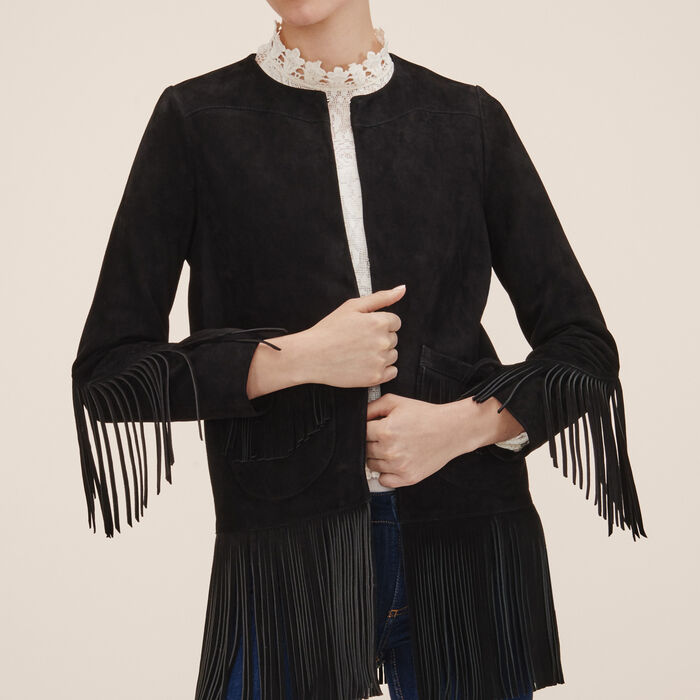 Suede fringed jacket -  - MAJE