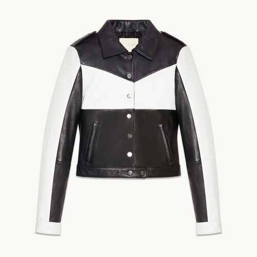 Cropped two-tone leather jacket - Jackets & Bombers - MAJE
