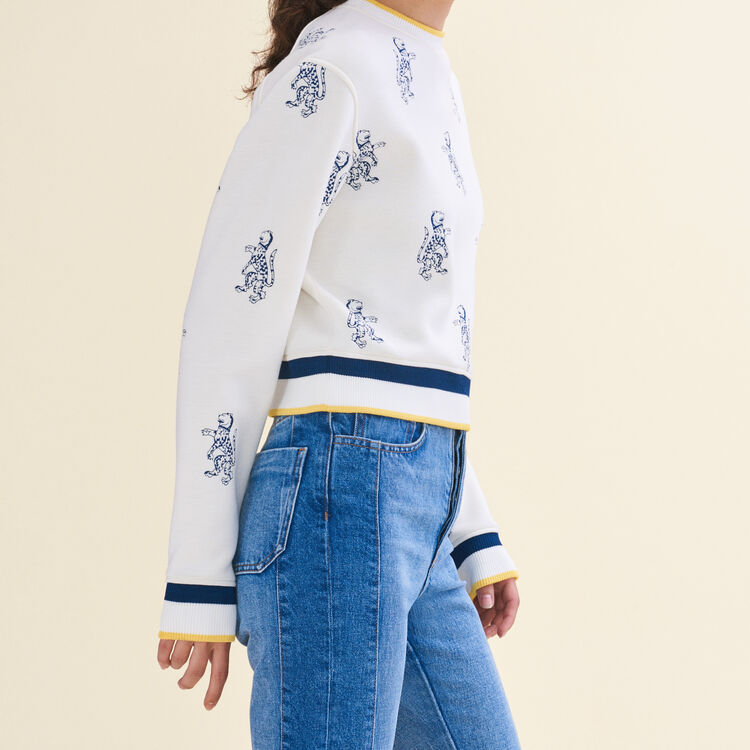 Sweat-shirt court avec broderie tigre - Maille - MAJE