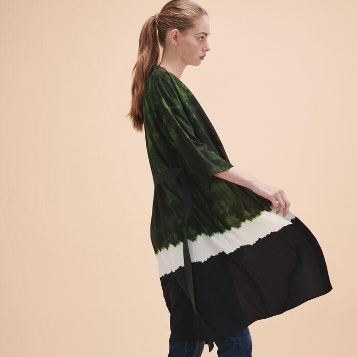 Tie-dye print kimono jacket - Coats & Jackets - MAJE