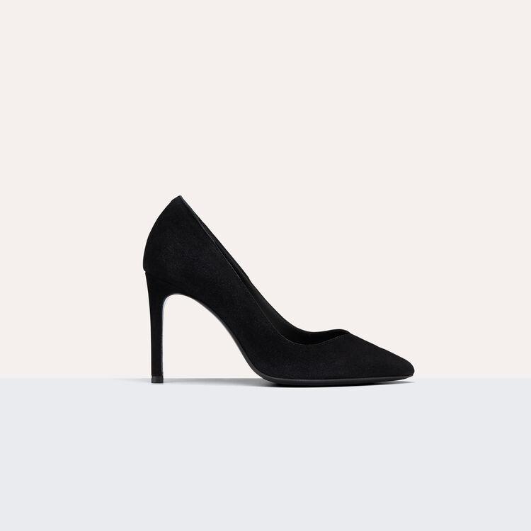 Escarpins haut en cuir velours - Chaussures - MAJE