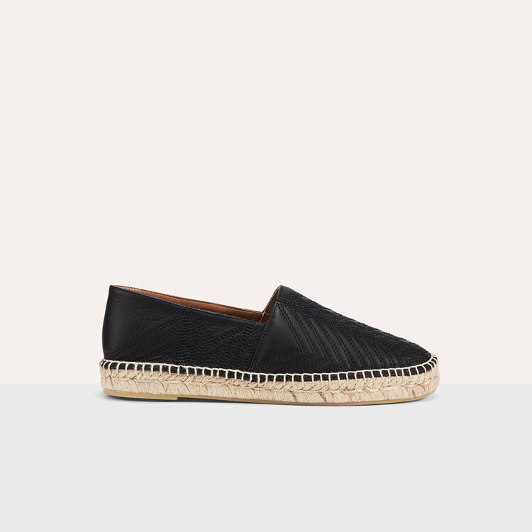 Espadrilles en cuir avec broderies - Chaussures - MAJE