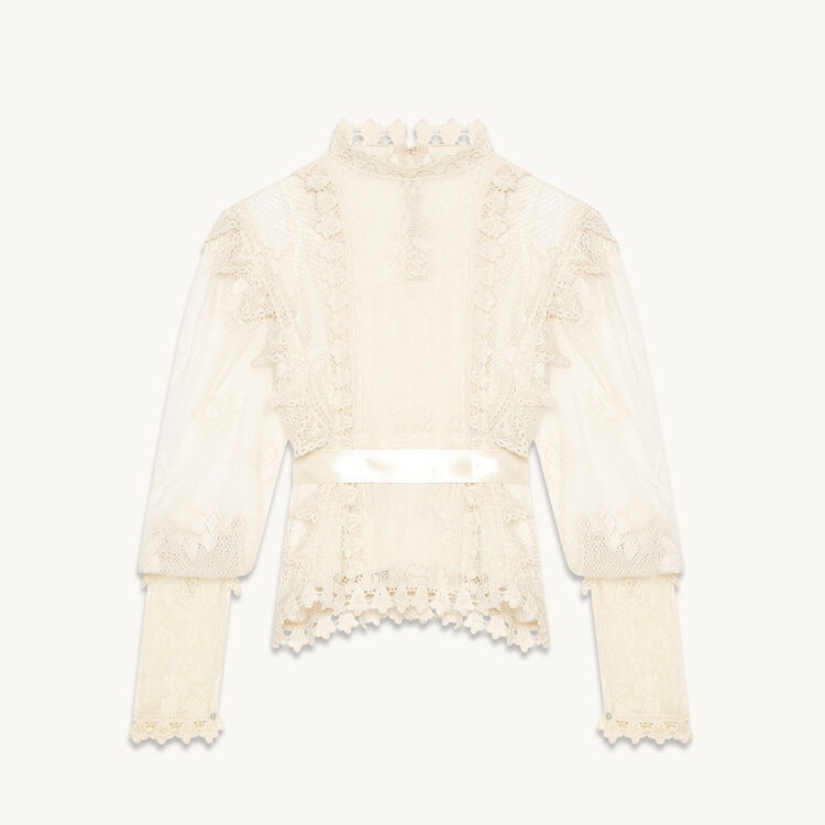 Belted lace top - Tops - MAJE