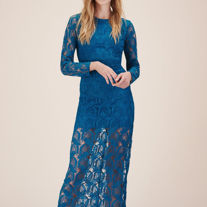 Long patterned lace dress -  - MAJE