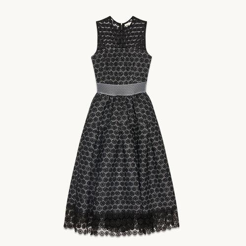 Langes Kleid aus verklebter Spitze - Kleider - MAJE