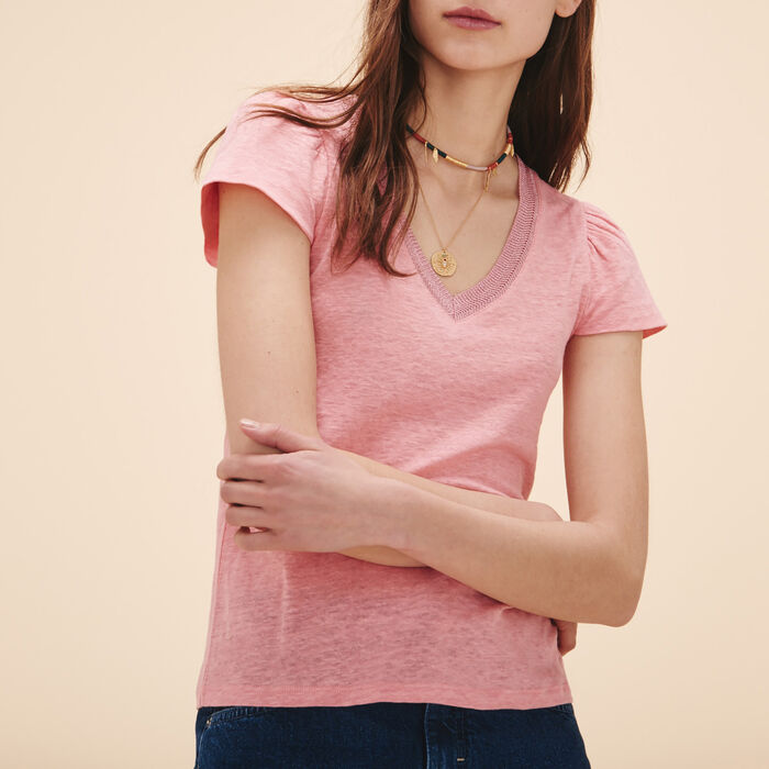 Linen T-shirt with gathered sleeves - Tops - MAJE