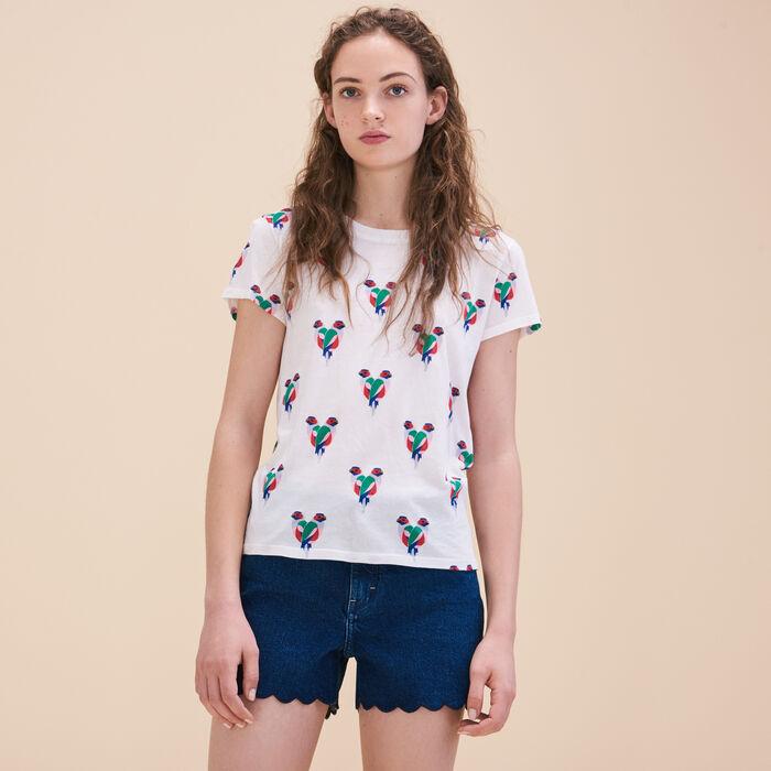T-Shirt mit Papageienmotiv -  - MAJE