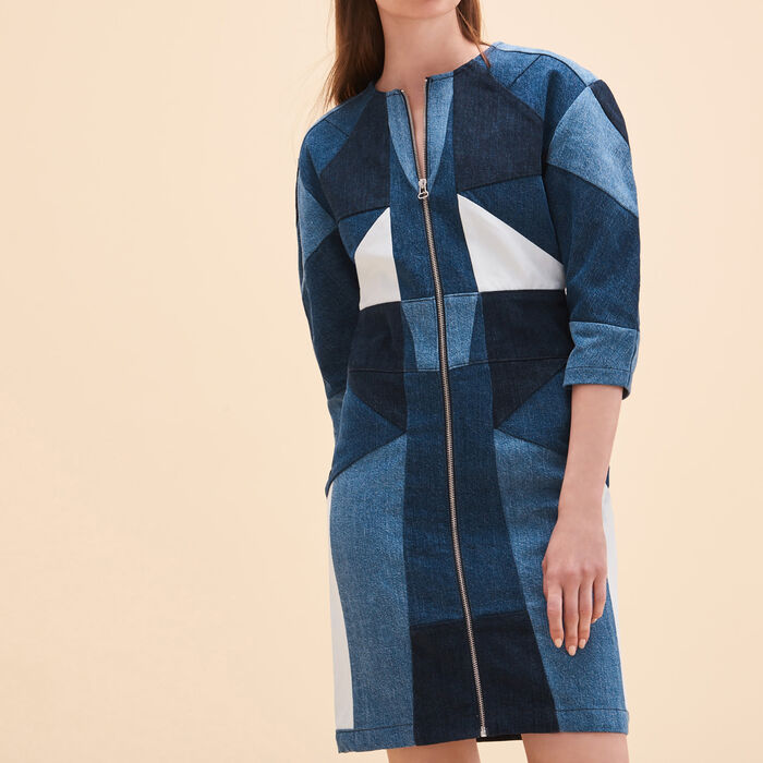 Patchwork denim dress -  - MAJE