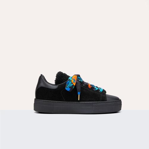 Baskets bimatière en cuir - Chaussures - MAJE