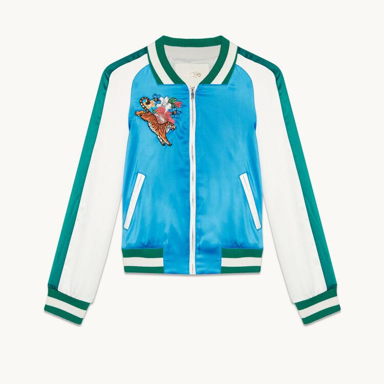 Two-tone varsity jacket - Coats & Jackets - MAJE