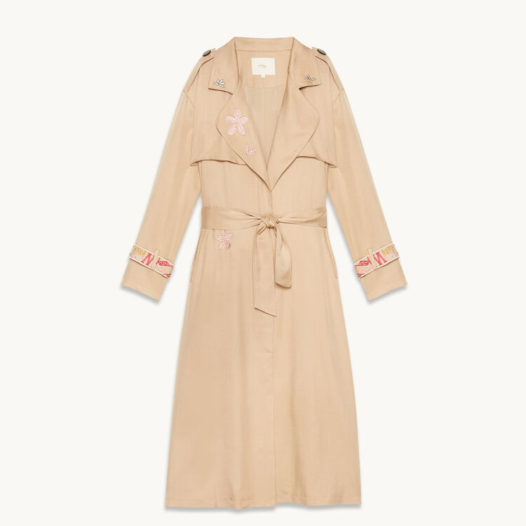 Trench coat with embroidery - Coats & Jackets - MAJE