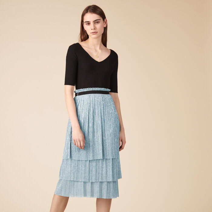 Pleated-effect lurex midi skirt -  - MAJE