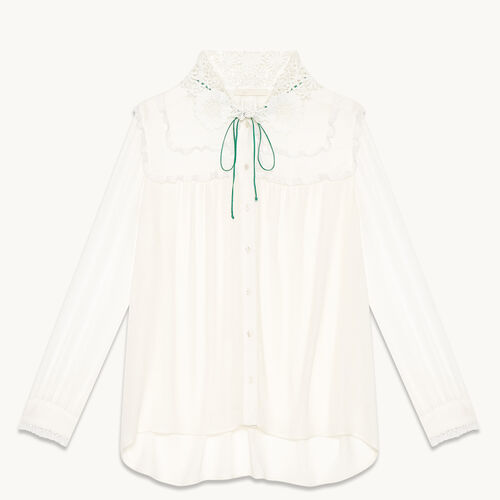 Floaty shirt with embroidered collar - Tops & T-Shirts - MAJE