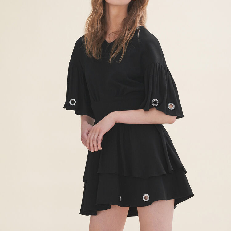 Flowing dress with eyelets - Dresses - MAJE