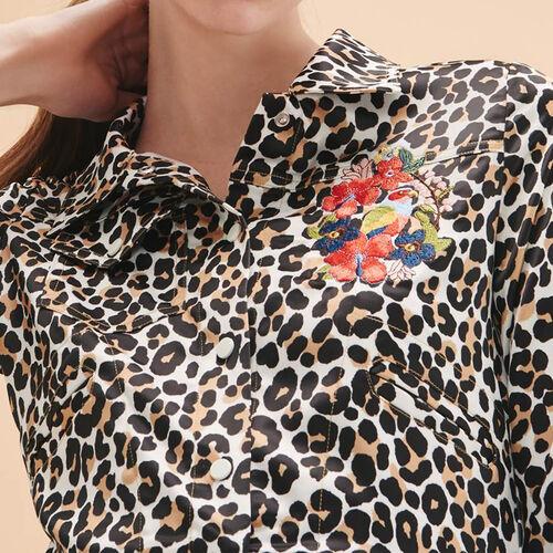 Kurze Jacke mit Leopardenaufdruck - Jacken - MAJE