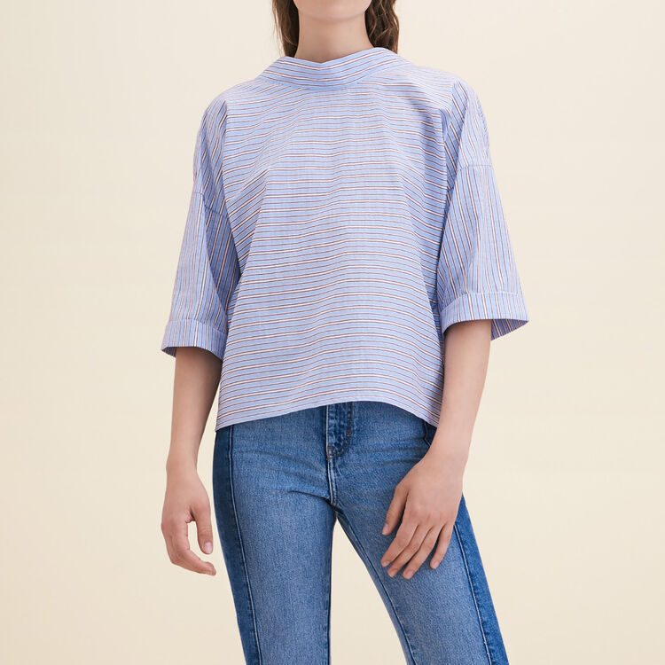 Top loose in cotone a righe - Tops - MAJE