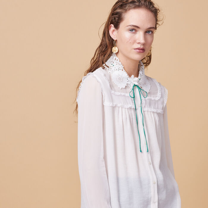 Floaty shirt with embroidered collar - Tops - MAJE