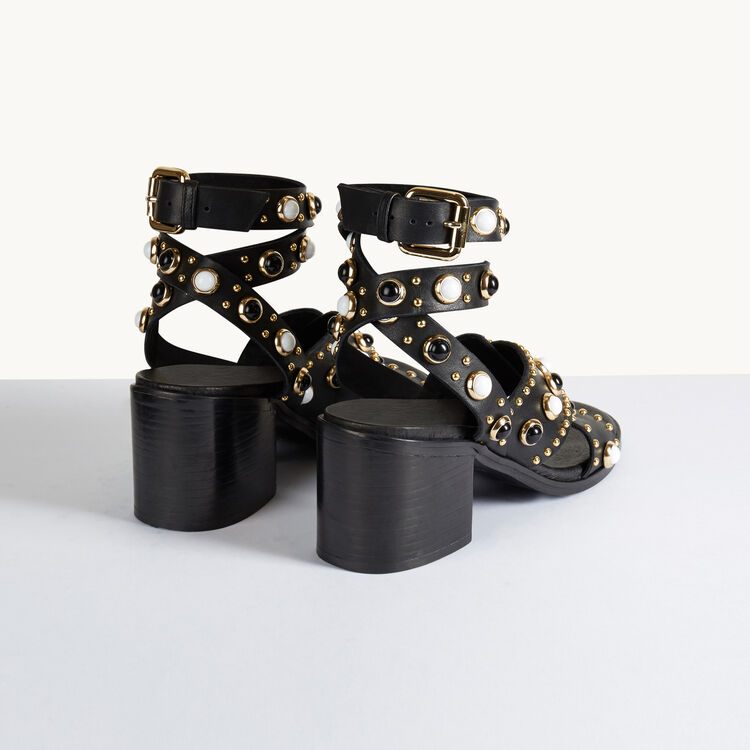 Heeled sandals with studs - Shoes & Accessories - MAJE