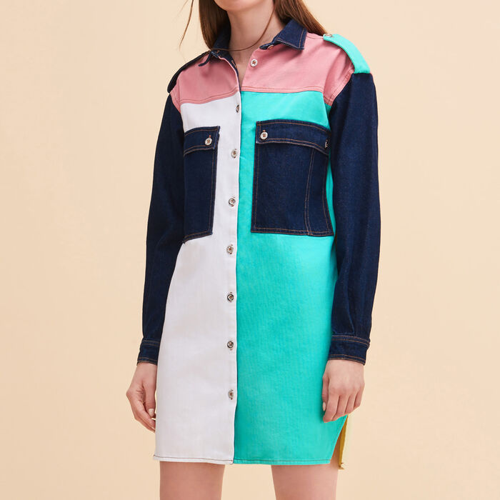 Multicoloured denim shirt dress - Dresses - MAJE