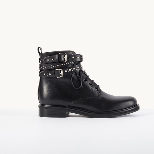 Leather ankle boots with studded straps - Shoes & Accessories - MAJE