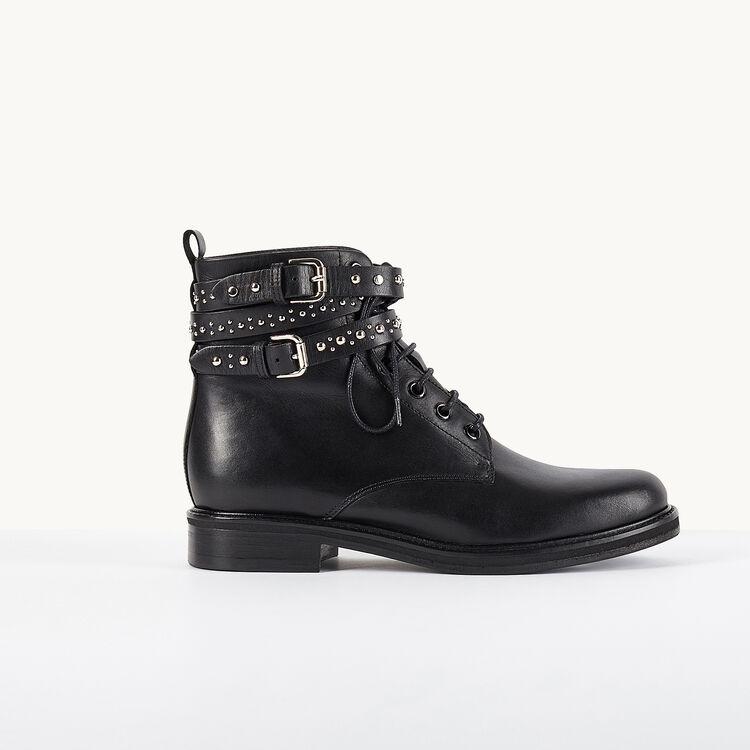Bottines en cuir avec lanières cloutées - Chaussures - MAJE
