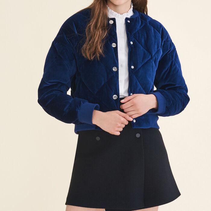 Cropped velvet bomber jacket - Jackets & Bombers - MAJE
